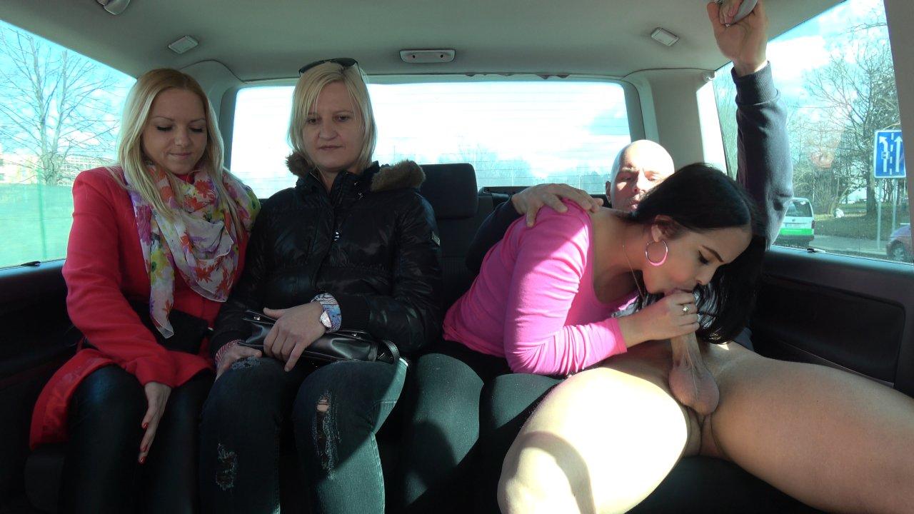 Girlfriends Left One Of Them Enjoy Cock In Driving Van
